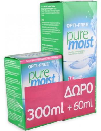 Optifree Puremoist Υγρό Φακών Επαφής Πολλαπλών Χρήσεων 300ml+60ml