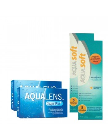 2 Aqualens Oxygen Plus (3pack) + 2 Aquasoft 250ml