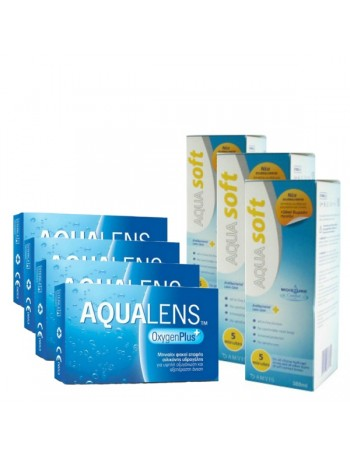 4 Aqualens Oxygen Plus (3pack) + 3 Aquasoft 380ml